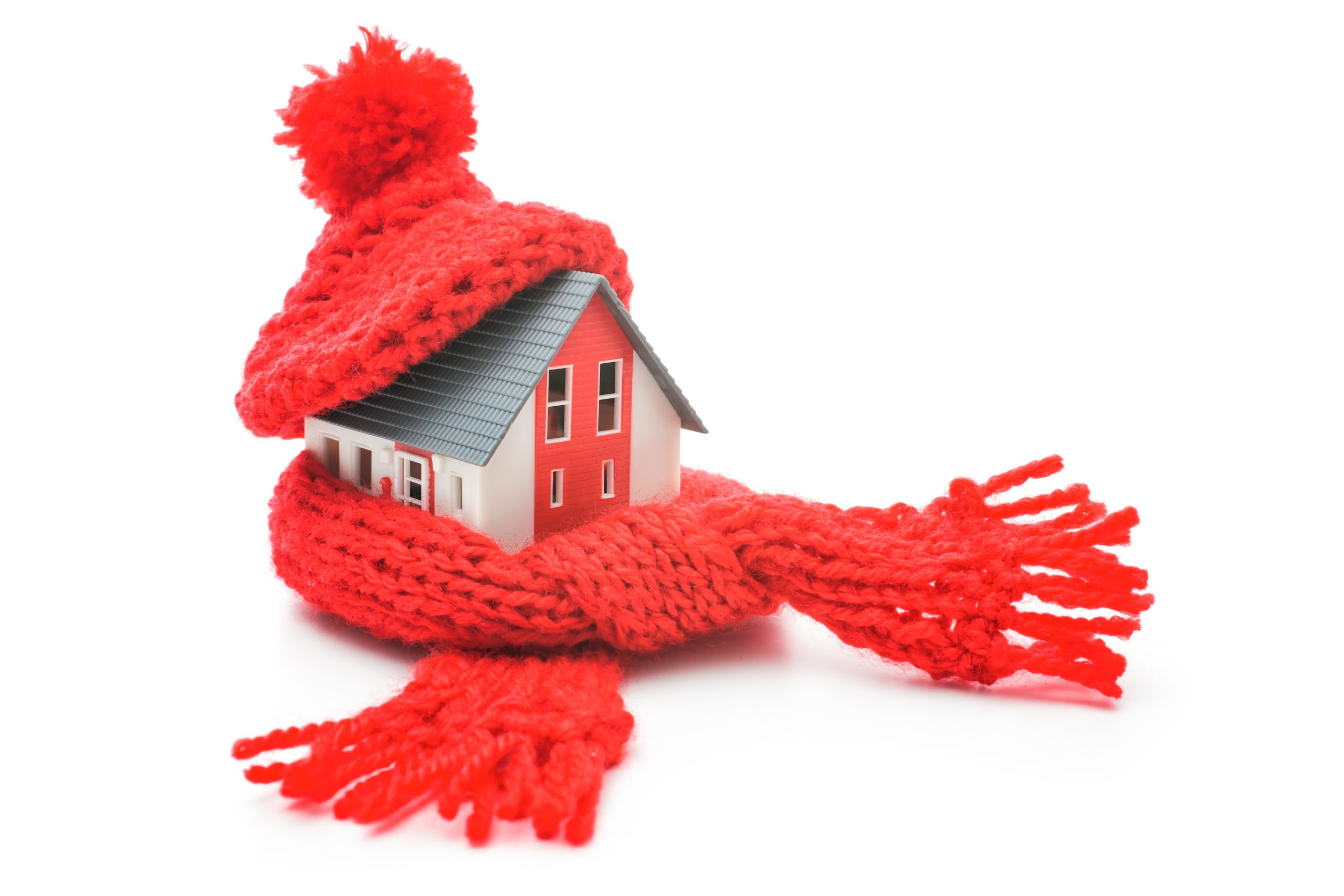 winter heating tips and home with red scarf wrapped around